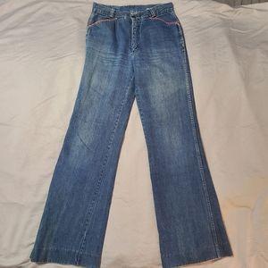 Vintage 70s Disco Wide Leg High Waist Jeans 33